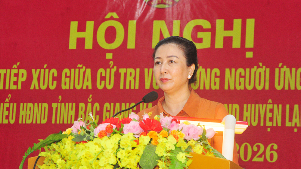Phó Bí thư Thường trực Tỉnh ủy Lê Thị Thu Hồng tiếp tục chương trình tiếp xúc cử tri tại huyện Lạng Giang